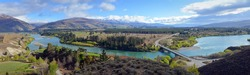 Panoramic View of the Kawarau River Gorge, Cromwell and Vineyards, Otago, New Zealand