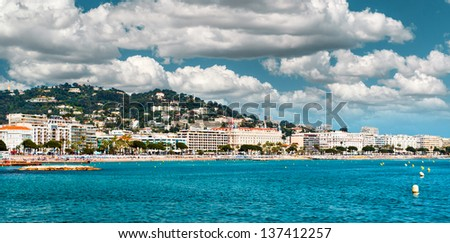Panoramic view of the La Croisette. Cannes. France