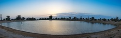 Panoramic view of the lake at the Love Lakes Dubai. A new tourist destination in the vicinity of Al Qudra Lakes Dubai. Love Lake is one of the major tourist attraction in Dubai.
