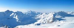 Panoramic view of the main Caucasian mountain ridge. View from Elbrus, 3500m