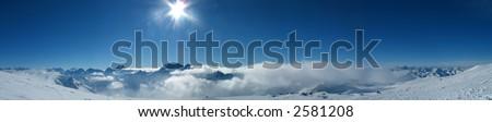 Panoramic view of the main Caucasian mountain ridge. View from Elbrus, 4200m