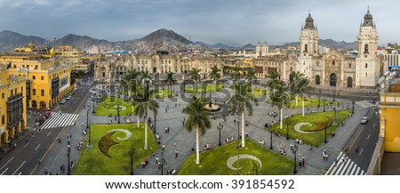 Panoramic view of the main square of Lima, Peru.