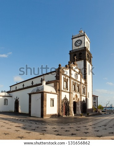 Panoramic view of the Matriz square with clock tower of the Church of San Sebastian at Ponta Delgada on San Miguel Island, Azores, Portugal