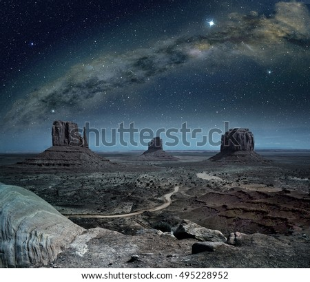 panoramic view of the milky way in monument valley #495228952