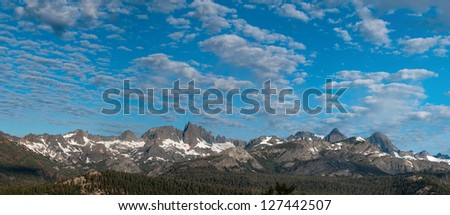 Panoramic view of the Minarets a group of mountains in the Sierra Nevadas in California at dawn - stock photo