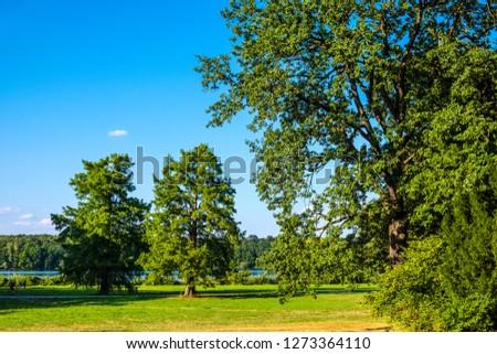 Panoramic view of the New Garden - Neues Garten - surrounding the Cecilienhof Palace - Cecilienhof Schloss in Potsdam, Brandenburg region of Germany Zdjęcia stock ©