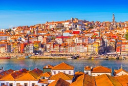 Panoramic view of the old city center of Porto (Oporto), Portugal