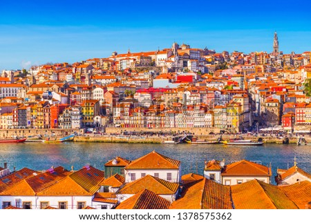 Panoramic view of the old city center of Porto (Oporto), Portugal #1378575362