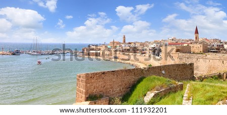 Panoramic view of the Old city of Acre (Akko), Mediterranean, Israel