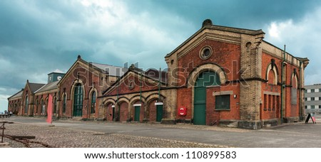 Panoramic view of the Old historical  pump house in Belfast port