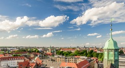 Panoramic view of the old part of the city from the observation deck at the Round tower (Rundetaarn) in Copenhagen, Denmark