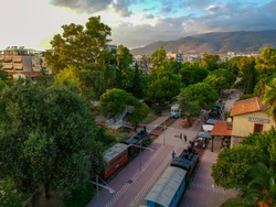 Panoramic view of the old railway station and park of Kalamata city, Messenia, Greece