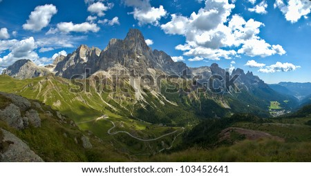 panoramic view of the Pale di San Martino, Dolomite