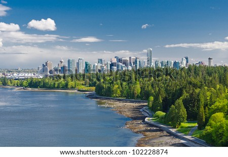 Panoramic view of the park and downtown city of Vancouver - stock photo