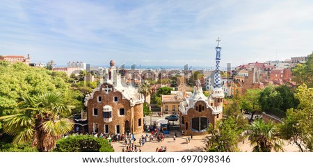 Shutterstock Panoramic view of the Park Guell by architect Antoni Gaudi in Barcelona, Spain.
