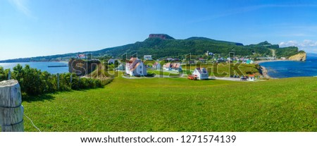 Panoramic view of the Perce village, at the tip of Gaspe Peninsula, Quebec, Canada #1271574139