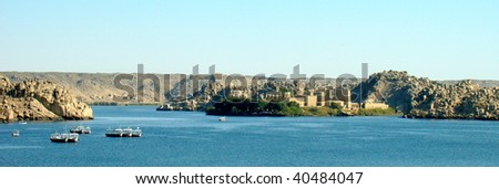 Panoramic view of the Philae Temple island, Aswan, Egypt