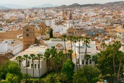 Panoramic view of the Picasso museum with the city of Malaga in the background