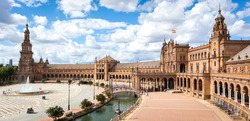 Panoramic view of the Plaza de Espana in Seville in Spain. One of the most spectacular monuments in the world and one of the best buildings of Andalusian regionalism.