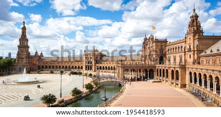 Panoramic view of the Plaza de Espana in Seville in Spain. One of the most spectacular monuments in the world and one of the best buildings of Andalusian regionalism. Stock photo ©