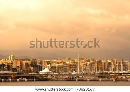 Panoramic view of the port of Palma de Majorca, Spain