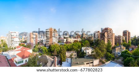 Panoramic view of the resedential neighborhood in Providencia commune in Santiago, Chile