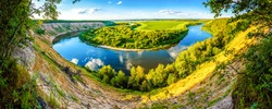 Panoramic view of the river valley. River valley panorama. River valley panoramic landscape