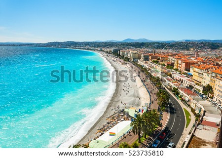 Panoramic view of the sea coast in Nice, France #523735810