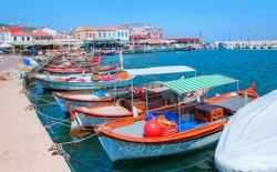 Panoramic view of the small port of Urla - Resort town of Urla - Urla, Turkey