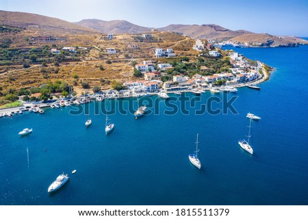 Panoramic view of the small village and sailors marina of Vourkari on the island of Kea Tzia, Cyclades, Greece Foto d'archivio ©