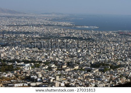 panoramic view of the southern part of attica greece athens piraeus coast line