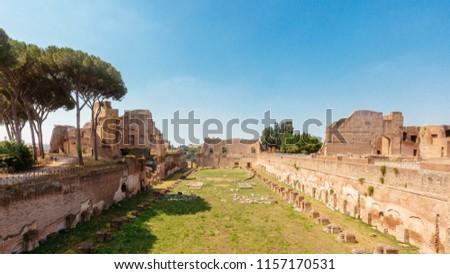 Panoramic view of the stadium ruins in Roman Forum in Rome, Italy #1157170531