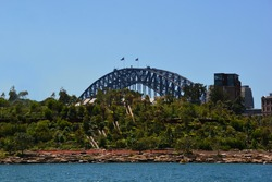 Panoramic view of the Sydney Harbor Bridge with the Barangaroo Reserve in the foreground seen from the water in Darling Harbor