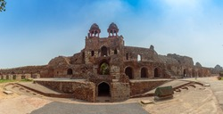 Panoramic view of the the south gate, also popularly known as the 'Humayun Gate' at Purana Quila, in Delhi, India