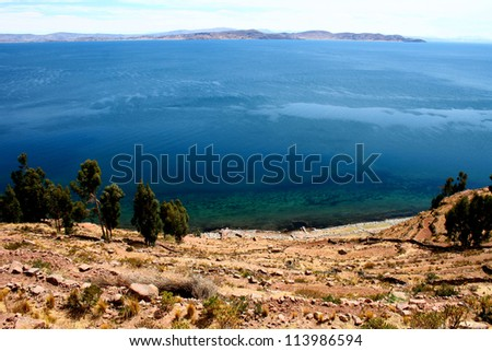 Panoramic view of the Titicaca Lake from Taquile island