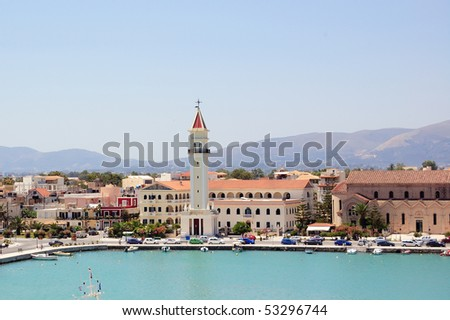 Panoramic view of the town and port of Zakynthos, Greece. - stock photo