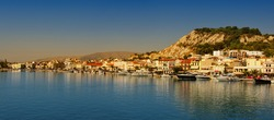 Panoramic view of the town and port of Zakynthos, Greece. Zante city