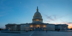 Panoramic View of the US Capitol with Moon on the Sky