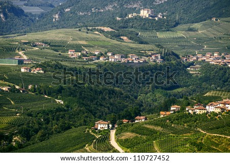Panoramic view of the Val di Non (Trento, Trentino Alto Adige, Italy) at summer