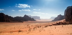 Panoramic view of the valley and mountains of Wadi Rum desert, south of Jordan