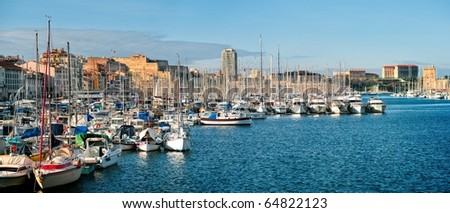 Panoramic view of the Vieux Port - old port of Marseilles, France
