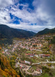 Panoramic view of the village Fotinovo, shot with a drone,Batak,Bulgaria - Image