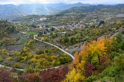 Panoramic view of the village of Nestorio in northwestern Greece during autumn