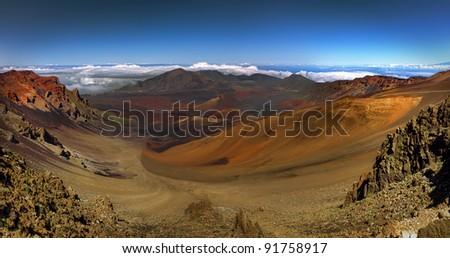 Panoramic view of the volcanic Haleakala crater on Maui, Hawaii