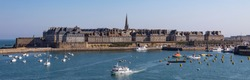 Panoramic view of the walled city and port of Saint Malo on the Channel coast in Brittany, northwest France.