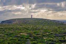 Panoramic view of the West Cape Lighthouse at Sunset Time, Innes National Park, Yorke Peninsula, South Australia.