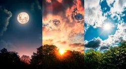 panoramic view of three sky, day, sunset and night in the forest