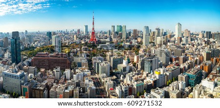 Panoramic view of Tokyo tower in Tokyo, Japan. Japan famous tourist destination. Aerial view of Tokyo tower. Japanese central business district, downtown building and tower in Tokyo, Japan cityscape.