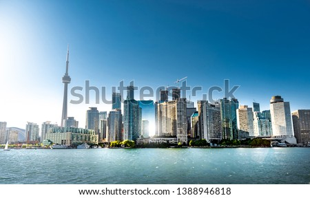 Panoramic view of Toronto skyline on clear day. Ontario, Canada