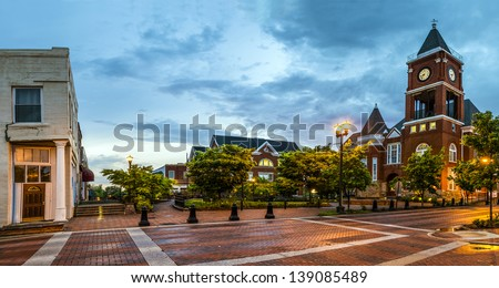 panoramic view of town square...